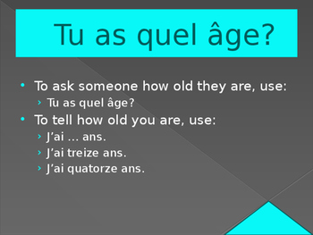 Quel âge (Age in French) power point Bien Dit / C'est à to