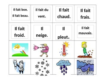"""Quel temps fait-il?"" Memory Game with French weather expressions"