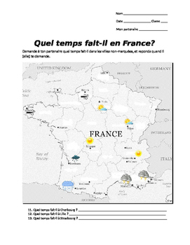 Quel temps fait-il en France gap fill