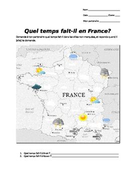 Quel temps fait-il en France gap fill