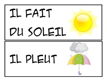 Quel temps fait-il? weather flashcards