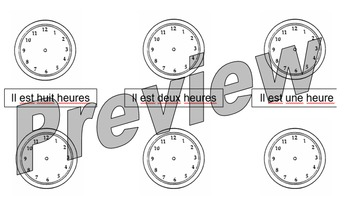 Quelle heure est-il? Fill in the time worksheet