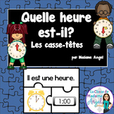 Quelle heure est-il?  French Telling Time Puzzles to the Hour and Half Hour