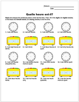 Quelle heure est-il? (French Time Reading Handout)