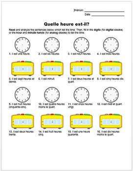 Quelle heure est-il? (French Time Reading Handout)