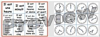 Quelle heure est-il? Matching pairs cards