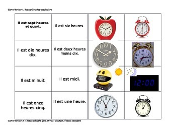 """""""Quelle heure est-il?"""" Memory Game with French expressions for telling time"""