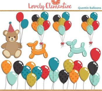 Quentin birthday clip art images, balloon clip art, party clip art