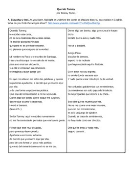 Integrated Song, Reading, and Speaking Activities for Querido Tommy
