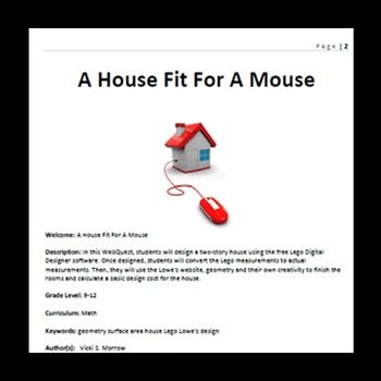 Webquest - Quest For Knowledge - A House For A Mouse - Using Lego Designer