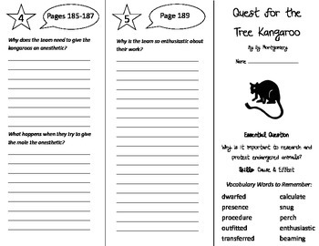 Quest For the Tree Kangaroo Trifold - Journeys 5th Gr Unit 2 Wk 1 (2014, 2017)