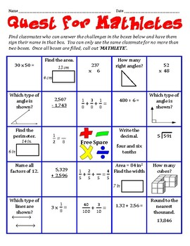 Quest for Mathletes - A Whole Group Math Activity to Get to Know Classmates