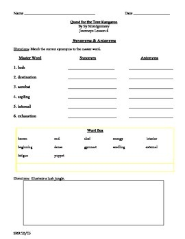 Journeys Common Core 5th - Quest for the Tree Kangaroo Supp Packet for the SLP