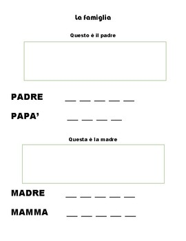 Questa e' la famiglia (Family in Italian - vocabulary)