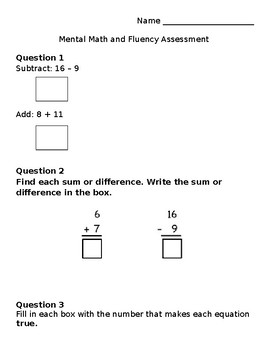 Questar Addition and Subtraction Fluency