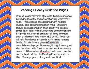 Questar™ Fluency Practice Pages
