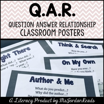 Question - Answer - Relationship (QAR): Question Stem Classroom Posters
