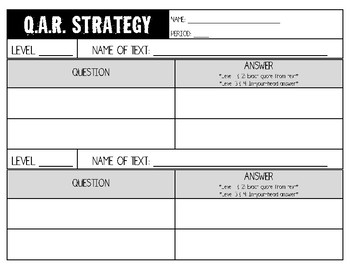Question-Answer-Relationship (QAR) Strategy Template