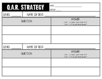 Question-Answer-Relationship (QAR) Strategy Template by Devon Scott