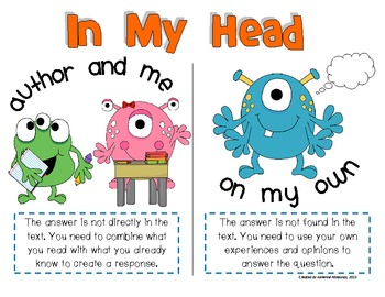 Question-Answer Relationship (QAR) posters: Monster Theme!
