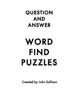 Question & Answer Word Find Puzzles