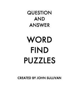 Question & Answer Word Find Puzzles-Vol. 1