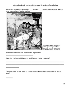 Elementary Social Studies Question Bank - Colonialism/American Revolution