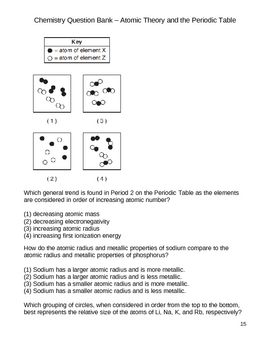 High School Chemistry Question Bank - Atomic Structure and Behavior
