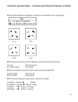 High School Chemistry Question Bank - Properties of Matter