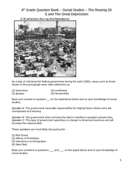 Middle School Social Studies Question Bank - Great Depression