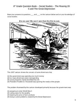 Middle School Social Studies Question Bank - Great Depression