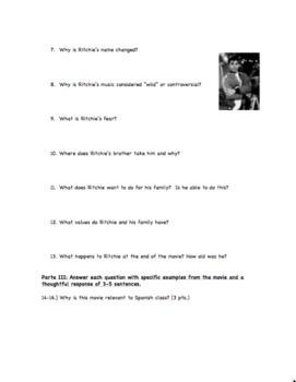 La Bamba Movie Question Guide for Spanish Class