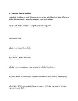 Question Guide for La hora de los valientes & the Spanish Civil War