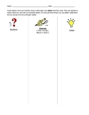 Question, Inference, Details Graphic Organizer