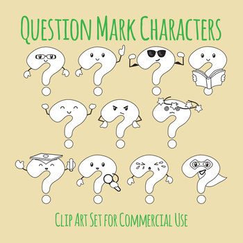 Question Mark Character Lineart / Clip Art Set for Commercial Use