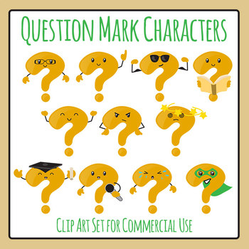 Question Mark Character / Mascot Clip Art Set for Commercial Use