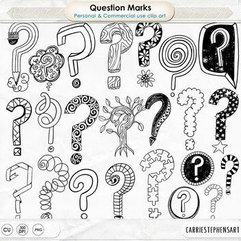 Question Mark Clipart, Decorative Question Mark Doodles, Punctuation, Line Art