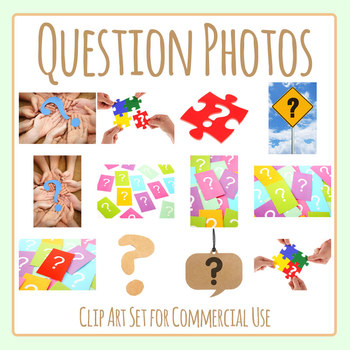 Question Mark Photos / Photograph Clip Art Set Commercial Use