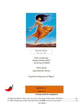 Question Menus for Esperanza Rising