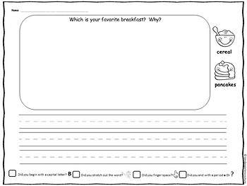 Question Of The Day -Whole Class Graph Food Choices