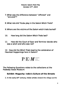 Question Packet to Accompany Field Trip to Salem, Massachusetts