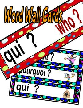 Question Posters Word Wall Cards and Banners in French--With Polka Dot Patterns