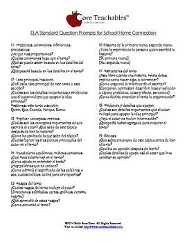 Question Prompts for CCSS Literature & Informational Standards - en Espanol