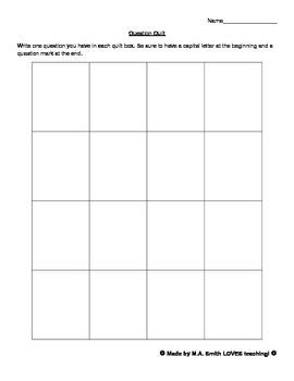 Question Quilt Graphic Organizer