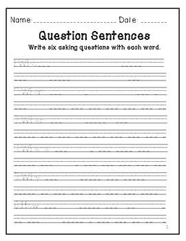 Question Sentences Worksheet