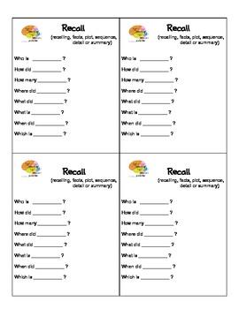 Question Starter Cards for Comprehension Skills