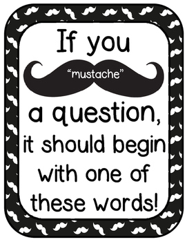 Question Starter Word Cards and Poster- Mustache Themed!