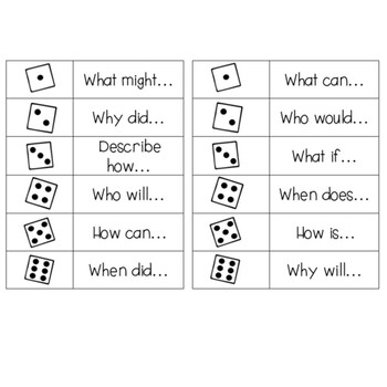 Question Stems - 20 Dice Roll Activity Cards