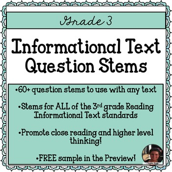 Question Stems 3rd Grade Informational Text Common Core Aligned