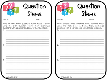 Question Stems Exit Slip